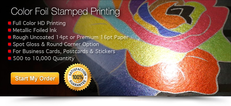 colored foil stamped business cards