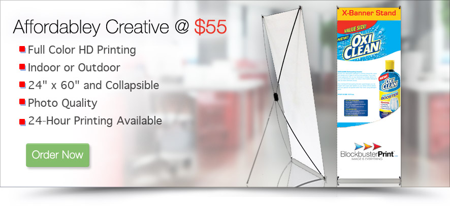 x style collapsible banner and stand