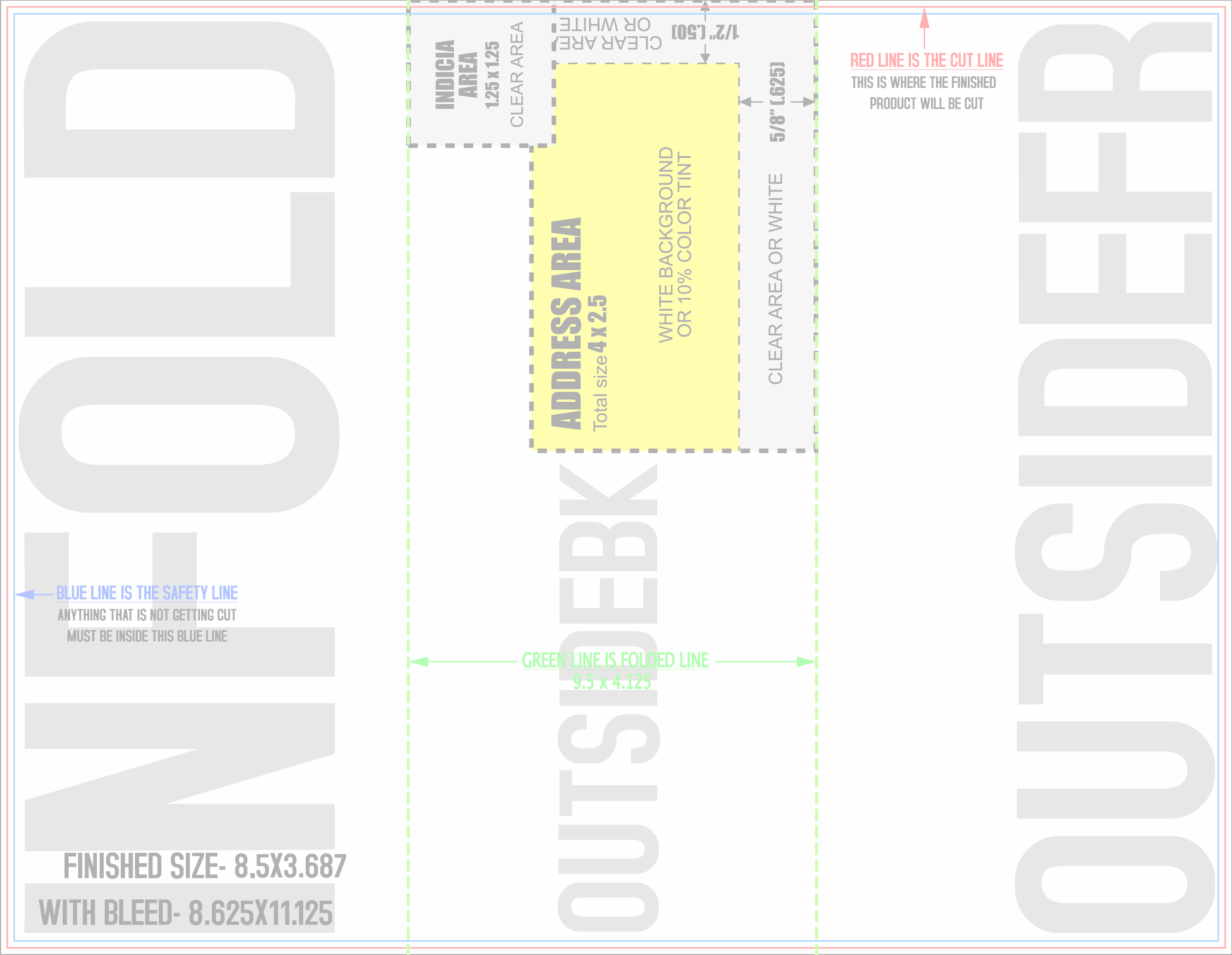 Free printing design templates with guides for business for Brochure mailer template